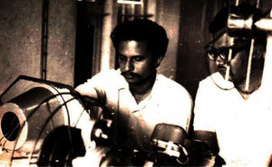 Adoor Gopalakrishnan on the-edit table with Swayamvaram