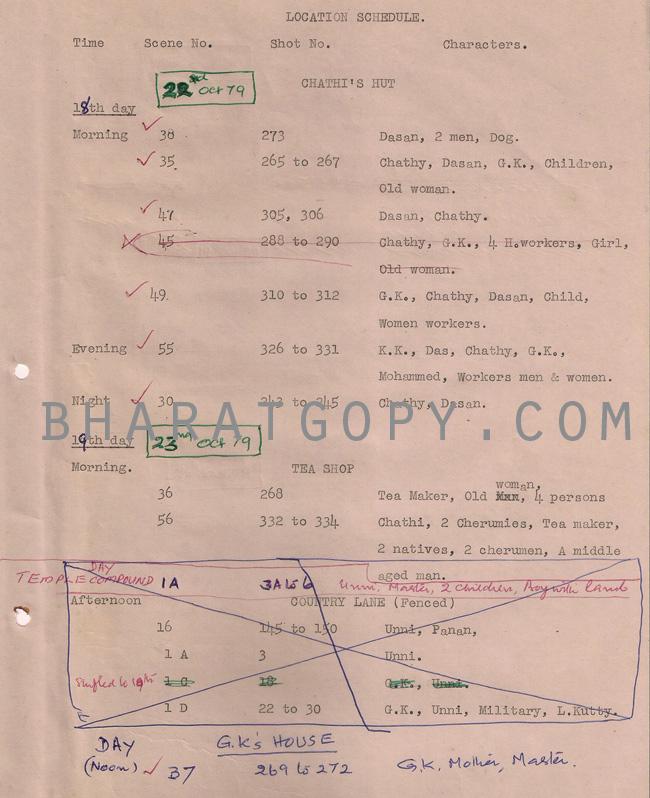 Actual Shooting Schedule Manuscript of Njattadi (1979)