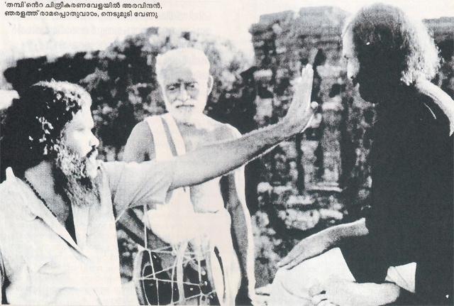 G Aravindan on the sets of Thambu (1978)