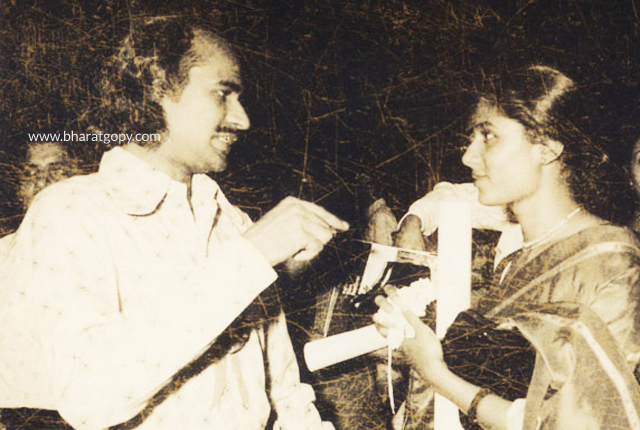 Bharat Gopy and Smita Patil at the National Film Awards ceremony.