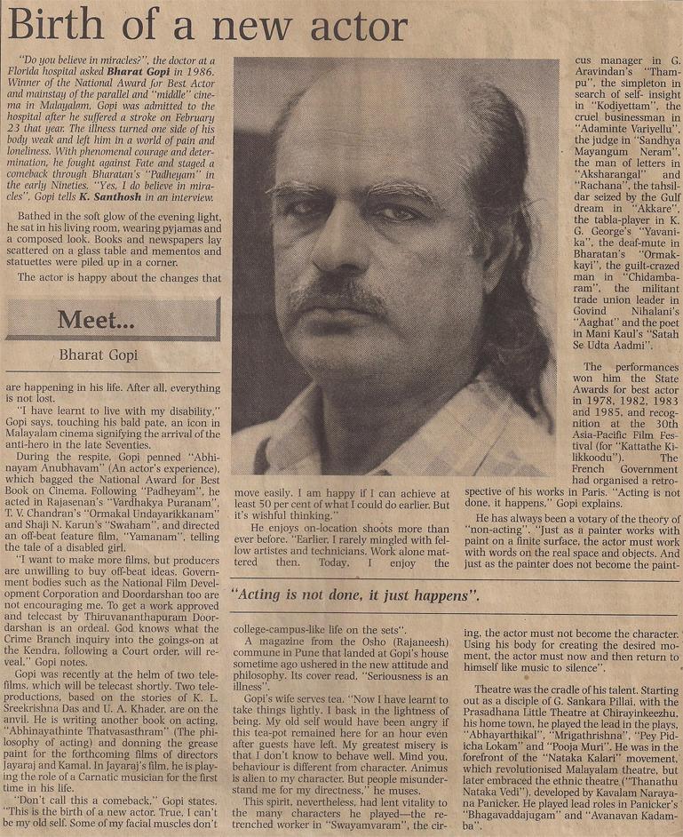 Bharat Gopy Interview - The Hindu-1998