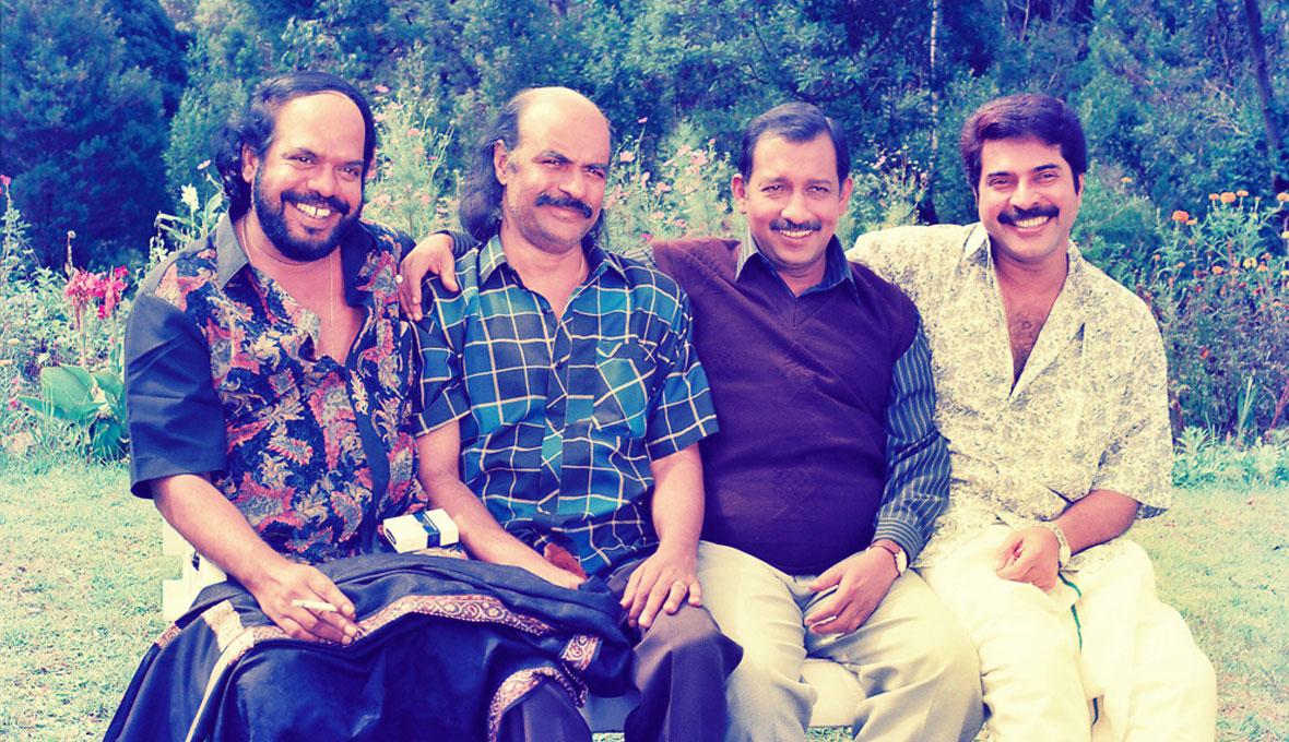 Nedumudi-Venu,-Bharat-Gopy,-Mammootty-and-Bharathan-Patheyam-Shoot