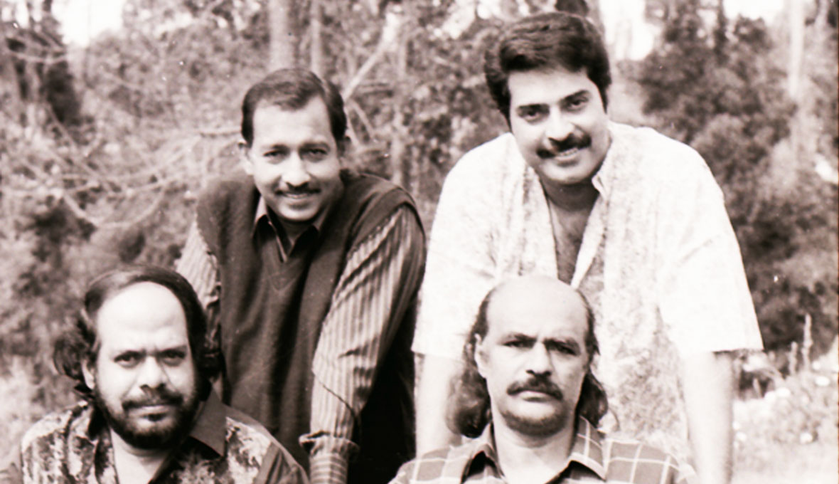 Bharat-Gopy-with-Nedumudi-Venu,-Mammootty-director-Bharathan-in-Patheyam