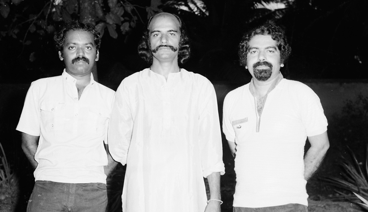 Bharat Gopy flanked by KG George and Ramachandra Babu -  Yavanika